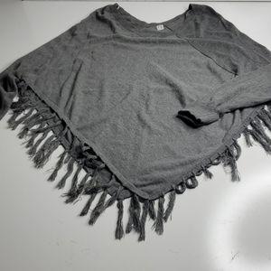 Anthro style fringe oversize fringed gray sweater